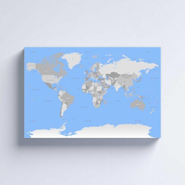 Mėlynas žemėlapis ant drobės