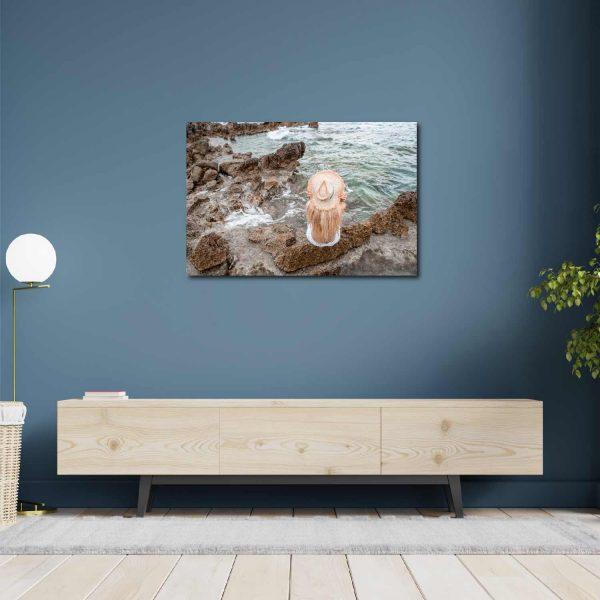 Foto drobė apmąstymai prie jūros